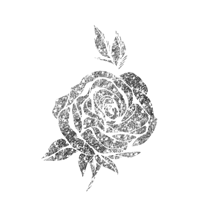 Glowing Silver Rose On Background Sparkles