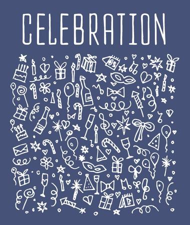 celebration background: Celebration, happy birthday doodles elements, Celebration, background.