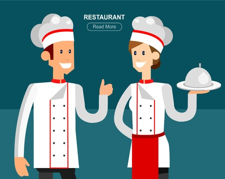 hotel staff: Hotel staff and service, restaurant, detailed character chief cooker, cool flat tourism elements Illustration