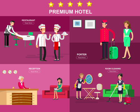 hotel staff: Hotel staff and service Illustration