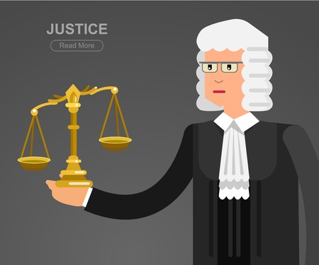 prison system: Vector detailed character the judge. Vector detailed character the judge, cool flat judge illustration. Vector judge. Illustration judge
