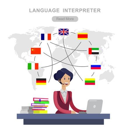 translator: Vector detailed character Language translator concept