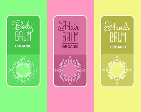 balm: label for organic cosmetics, shampoo, shower gel, balm packaging.
