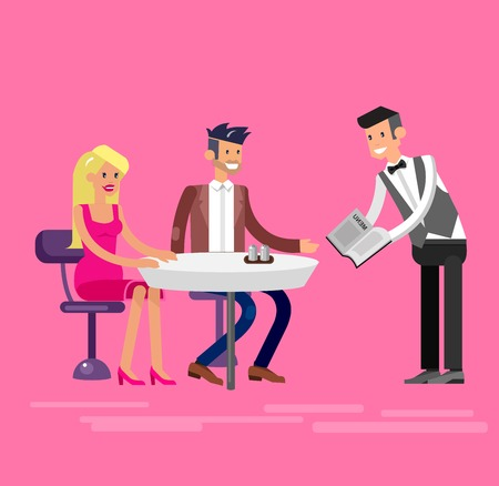 socialize: Vector detailed character people in the restaurant Illustration