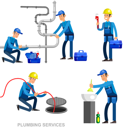 detailed character professional plumber men set Vektorové ilustrace