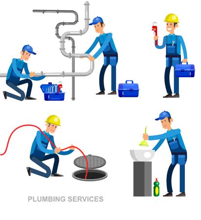 gedetailleerde karakter professionele loodgieter mannen stellen Vector Illustratie