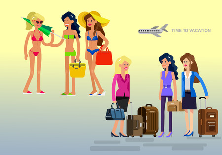 girlfriends: Vector detailed character Business girlfriends go on summer vacation with bag and suitcase. Illustration