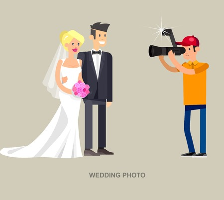 videographer: cool detailed character Photographer with camera and cute wedding couple.
