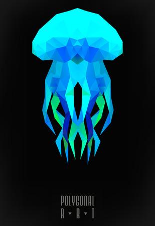 Méduse polygonale abstraite. illustration de poly basse. Affiche créative