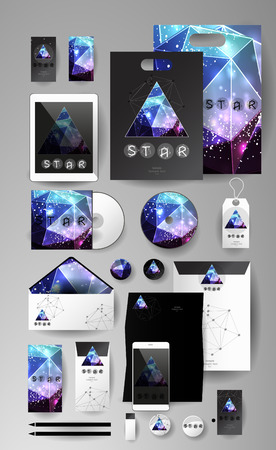 teorema: Abstract  business set in cosmic polygonal style. Corporate identity templates, card, disk, package, label, envelope, pen, Tablet PC, Mobile Phone, pencil, folders for documents, invitation card
