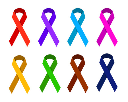 victims: ribbon in different colors symbolizing victims of homophobia, gynecologic cancer, Creutzfeldt-Jakb Disease, Cancer Survivor, domestic violence, migraine, Spirit Day, drug overdose, aids day Illustration