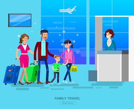 Vector detailed characters people in airport lounge. Family is registered, people baggage claim, flat  illustration