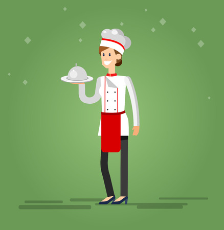 professional chef: Vector detailed characters woman professional chef, Cook baker cooking, bakery flat design vector illustration
