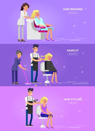 洗浄、カット、魅力的な女の子、美しいブロンド女性を笑顔のスタイリング髪を床屋の詳細な文字になります。美容サロンの web バナーのテンプレー