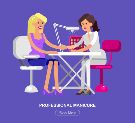 saloon: Detailed Manicurist character makes a professional manicure beautiful blond woman.  Web banner template  for beauty saloon