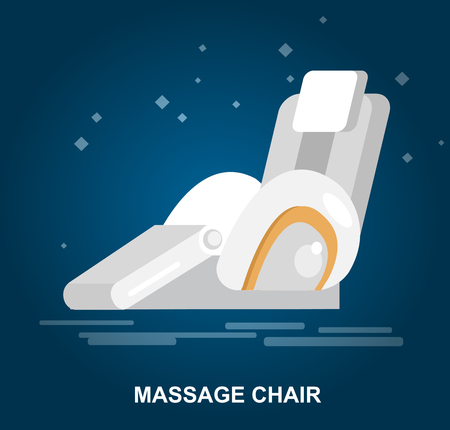 cartoons television: Vector detailed massage chair, massager for relax, cool flat  illustration