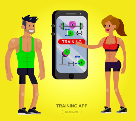 fitness equipment: Vector detailed character men and women bodybuilder with big smartphone. Traning app with fitness equipment, cool flat  illustration. Web banner template