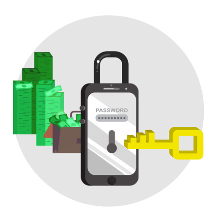 scammer: Mobile security concept for smart phones. Vector illustration background with connected IT symbols