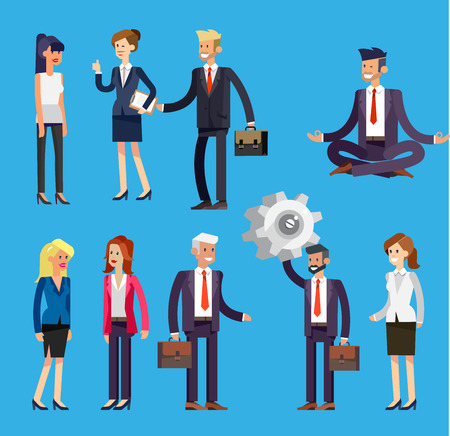 colleagues: Set of Vector detailed characters people, business men and women in action. Shake hands, with a briefcase, secretary, big boss, startup man, colleagues, business lifestyle