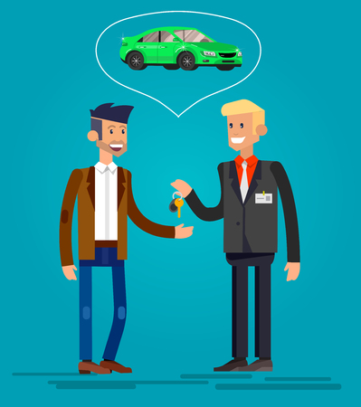 buyers: design concept of choice and buying a car. Vector detailed character buyer and seller, cool flat  illustration. Web banner template