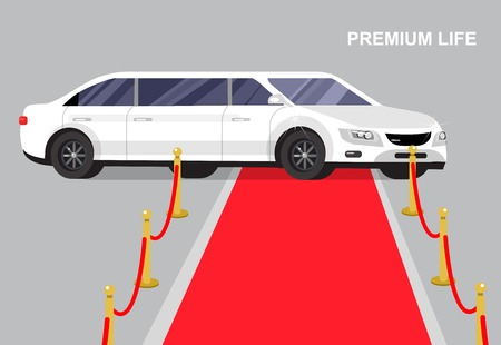 celebrities: detailed vector luxury white limousine car and red carpet for world premiere celebrities and guests
