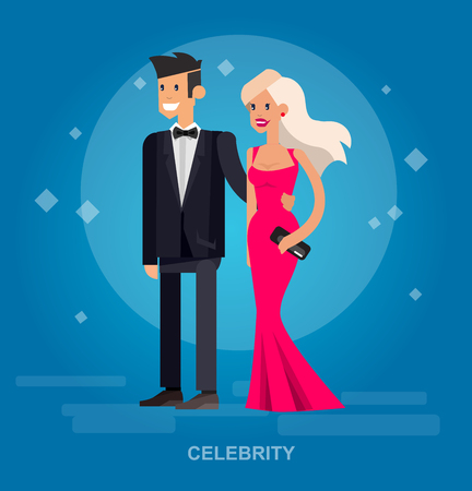 celebrities: Vector detailed character rich and beautiful celebrities, man in tails and blond woman in evening dress  Flat style vector illustration Illustration