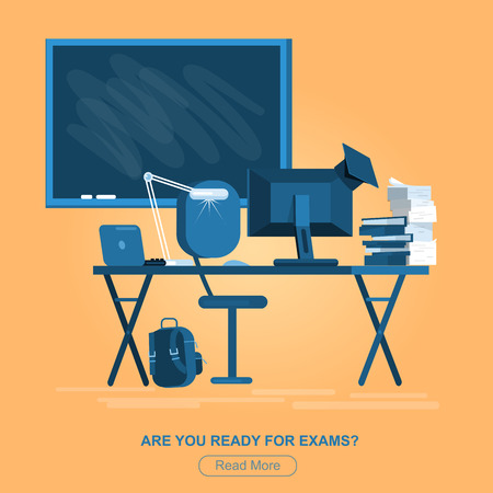 writing chair: Vector detailed objects for education. Flat style vector illustration isolated on white background. Illustration
