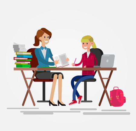Woman teacher tutor tutoring girl kid at home. Mother helping daughter with homework. Flat style vector illustration isolated on white background. Çizim