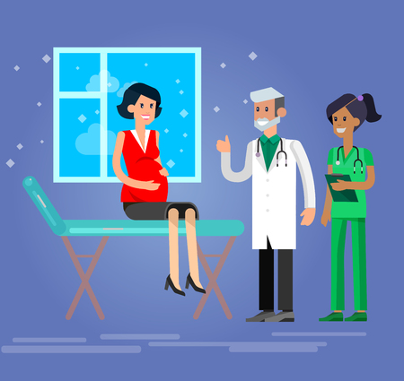 gynecologist: Vector detailed character happy pregnant woman having a doctor visit in hospital. Gynecologist men and smiling nurse  indicates that everything is OK. Cool flat  illustration