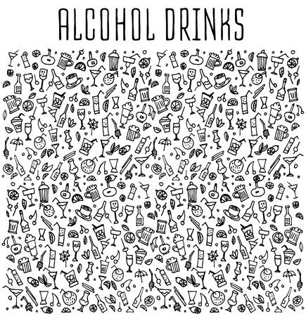 Set de griffonnages cocktails, tiré par la main de simples croquis bruts de types Vaus de cocktails et boissons non alcoolisées cocktails. Vector cocktails freehand illustration. Hand drawn pattern avec des cocktails.