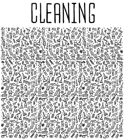 sketchy illustration: Hand drawn cleaning tools seamless pattern, cleaning tools doodles elements, cleaning seamless background. cleaning sketchy illustration