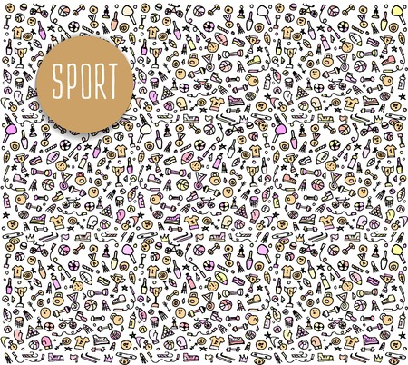 sketchy illustration: Hand drawn Sport and fitness elements, seamless pattern, Sport and fitness doodles elements, Sport and fitness seamless background. Sport and fitness sketchy illustration