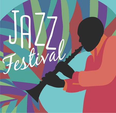 jazz singer: Retro Jazz festival Poster, illustration of Jazz band and cool Jazz singer who is striking a stylish pose and playing a Jazz musical performance