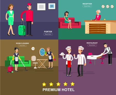 hotel staff: Hotel staff and service, reception, Room cleaning and restaurant, detailed character porter, chambermaid, chief cooker, cool flat tourism elements