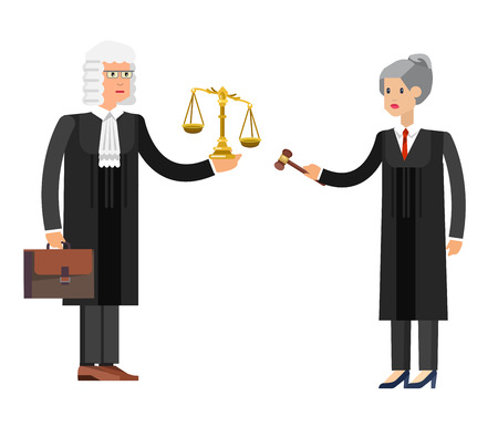 judiciary: Vector detailed character the judge, cool flat  illustration isolated vector Illustration