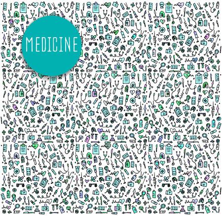 icon hospital: Hand drawn Medicine elements, seamless pattern Medicine, Medicine doodles elements, Medicine seamless background. Medicine sketchy illustration