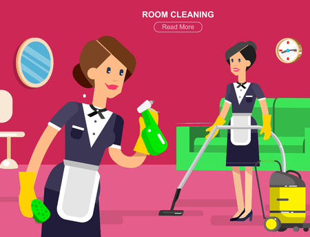 Personeel van het hotel en de service, receptie, schoonmaak, kamermeisje, cool flat toerisme elementen Vector Illustratie