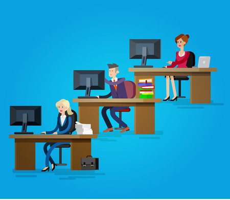 team from behind: Vector detailed character corporate business team people  sitting behind desk. Office workers. Men and women, cool flat  illustration