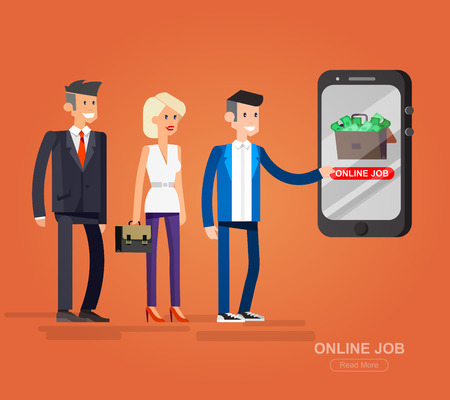 job opening: Job search and human resources. Vector flat illustration character