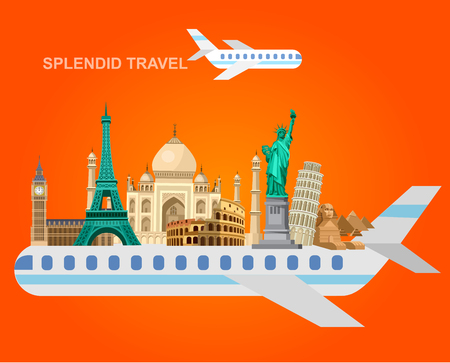 High detailed most famous World landmarks vector