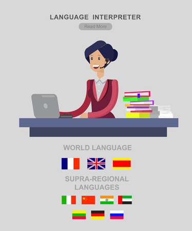translator: Vector detailed character Language translator concept with woman sitting on table with laptop and with flags of the world languages, cool flat  illustration