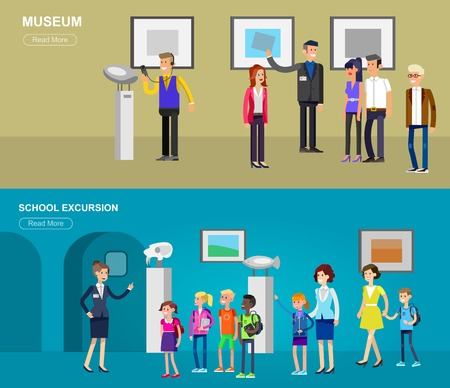exposition: Funny character people in museum. Archeological museum of antiquity and natural science exposition for children, guided tour, exhibition space, audioguide, flat banners set Illustration