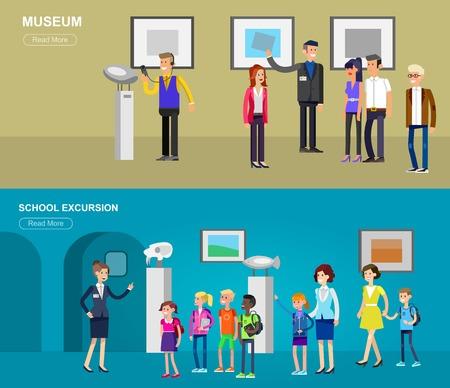 Grappig karakter mensen in het museum. Archeologisch museum van de oudheid en de natuurwetenschap expositie voor kinderen, rondleiding, expositieruimte, audioguide, vlak geplaatste banners