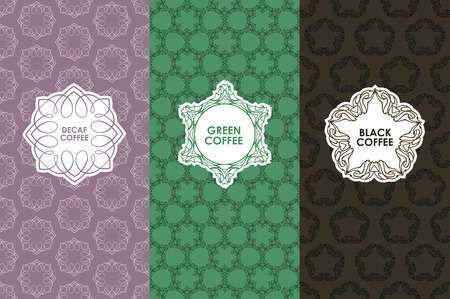 Vector set of templates packaging, label, banner, poster, identity, branding, seamless pattern in trendy linear style for coffee package - green, black, decaf coffee