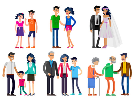 life stages: Detailed character people. Stages of life of young couple, childhood friendship, first date and wedding, first baby, old parents and adult son