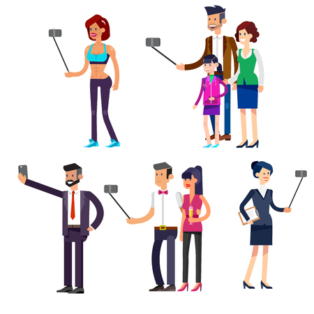 photo people: Vector detailed character. Selfie shots family and couples vector illustration. Selfie shot man, woman, sporty woman. Vector selfie people set, life with selfie photo camera