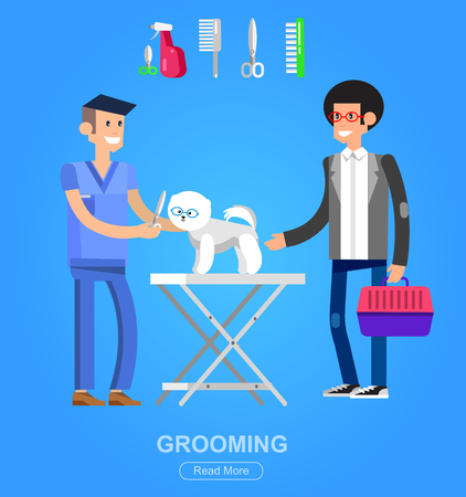 male grooming: high quality character design veterinarian with dog, groomer, cuts Pomeranian, icon for grooming service