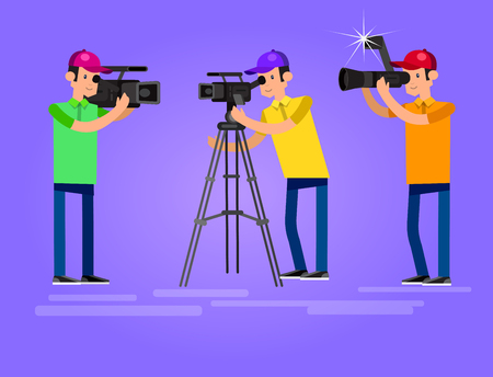 videographer: cool detailed character Photographer and videographer with camera photographs