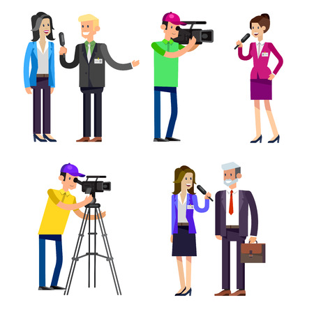 female symbol: cool detailed character Photographerwith camera photographs people Illustration