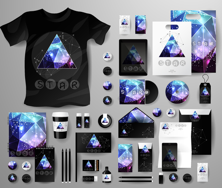 teorema: Abstract  business set in cosmic polygonal style. Corporate identity templates, notebook, card, flag, T-shirt, disk, package,  label, envelope, pen, Tablet PC, Mobile Phone, matches, ink, pencil, paper cup, forms, folders for documents, invitation card
